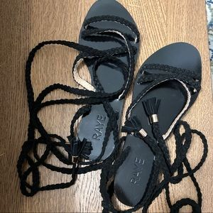 Revolve RAYE black braid suede lace up sandals